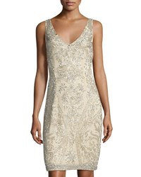 Theia Sleeveless V Neck Beaded Cocktail Dress Champ Silv
