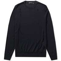Alexander Mcqueen Distressed Skull Crew Knit Black
