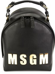 Msgm Logo Plaque Backpack Black