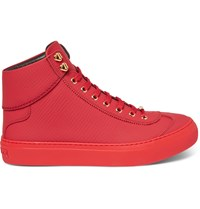 Jimmy Choo Argyle Textured Leather High Top Sneakers Red