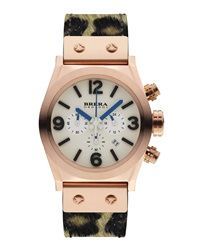 Brera Unisex Rose Gold Eterno Piccolo Pony Hair Watch Leopard