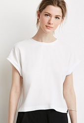 Forever 21 Ribbed Trim Top Ivory