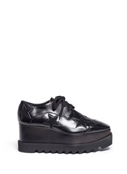 Stella Mccartney 'Elyse' Velvet Star Alter Nappa Wood Platform Derbies Black