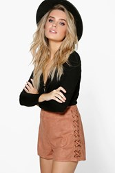 Boohoo Lace Up Side Faux Suede Shorts Tan