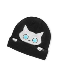 Karl Lagerfeld Peek A Boo Cat Women's Beanie Hat Black