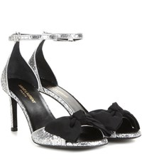 Saint Laurent Jane 80 Glitter Sandals Silver