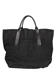 Rick Owens Spray Waxed Cotton Denim Maxi Tote Bag