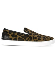 Dolce And Gabbana Leopard Print Slip On Sneakers Green