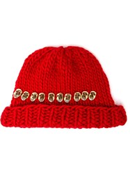 Wool And The Gang Knitted Skull Beanie Hat Red