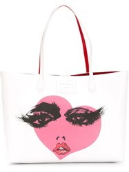 Hogan Heart Print Shopping Bag White