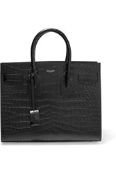 Saint Laurent Sac De Jour Small Croc Effect Leather Tote Black