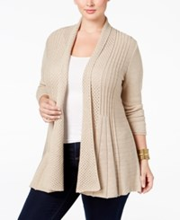 Ny Collection Plus Size Pointelle Knit Duster Cardigan Sahara Heather