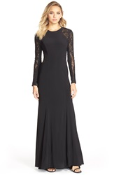 Xscape Evenings Sequin Lace Sleeve Gown Black Black