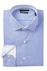 Tailorbyrd Long Sleeve Trim Fit Checkered Dress Shirt Blue