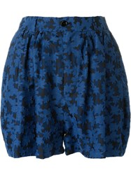 Julien David Embroidered Floral Shorts Blue