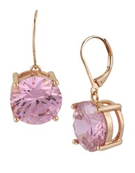 Betsey Johnson Rose Goldtone And Rose Crystal Drop Earrings Pink Rose Gold