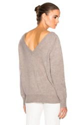 Victoria Beckham Felted Lambswool Double V Neck Jumper In Gray