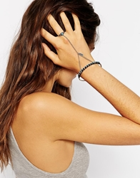 Asos Turq Stone And Feather Charm Hand Harness Blue
