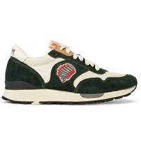 Visvim Roland Embroidered Suede And Mesh Sneakers Dark Green