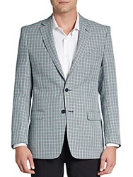 Versace Plaid Cotton Ramie Sportcoat Medium Green Check
