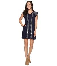 Rock And Roll Cowgirl Short Sleeve Dress D5 8732 Navy Women's Dress
