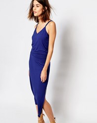Warehouse Strappy Back Midi Dress Blue