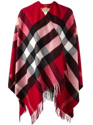Burberry Checked Cape Red