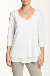 Olivia Moon 3 4 Sleeve Tee White
