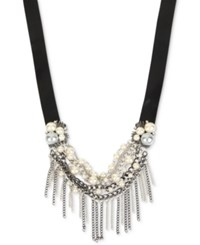 Inc International Concepts Two Tone Faux Leather Imitation Pearl And Fringe Statement Necklace Only At Macy's Two Tone