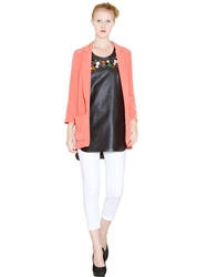 Space Style Concept Techno Satin Deconstructed Jacket Coral