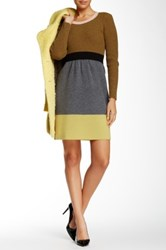 Orla Kiely Colorblock Wool Sweater Dress Green