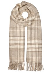 Johnstons Of Elgin Taupe Checked Cashmere Scarf Beige
