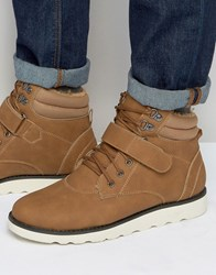 Brave Soul Lace Up Boots With Borg Lining Tan Tan Grey