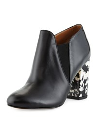 Kay Unger Kiandra Leather Chunky Heel Bootie Black