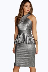 Boohoo Metallic Peplum Cross Strap Midi Dress Silver