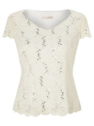 Jacques Vert Jersey Lace Top Ivory