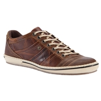Dune Scribble Leather Trainers Tan