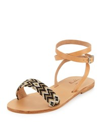 Elina Lebessi Aliki Woven Ankle Wrap Flat Sandal Black Taupe Multi Blk Taup