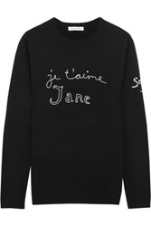 Bella Freud Je T'aime Jane Embroidered Wool Sweater Black