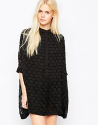 Religion Hollow Check Shirt Dress Jetblack