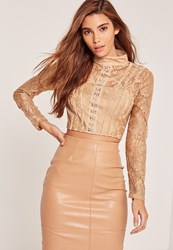 Missguided Nude High Neck Lace Eyelet Front Crop Top