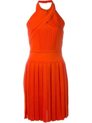 Balmain Halter Neck Dress Yellow And Orange