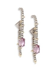 Alexis Bittar Crystal Lace Linear Ear Jacket And Drop Earrings Set Gold Purple