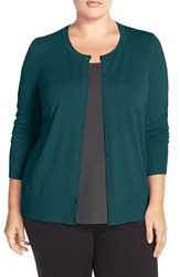 Sejour Plus Size Women's Crewneck Cardigan Teal Deep