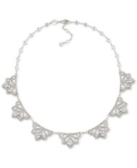 Carolee Silver Tone Clear Crystal Statement Necklace White