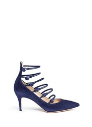 Gianvito Rossi Button Caged Suede Pumps Blue