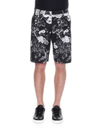 Dolce And Gabbana Rose Print Bermuda Shorts Black White