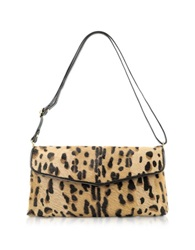 Fontanelli Calfhair Leopard Print Shoulder Bag Brown