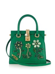 Dolce And Gabbana Crystal Embellished Lizard Effect Tote Green