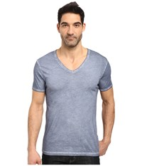 Boss Orange Toulouse Fashion Fit Garment Dyed Jersey V Neck Tee Blue Men's Short Sleeve Pullover